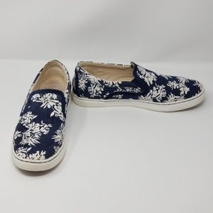 UGG Navy Canvas Tropical Print Slip On Sneakers